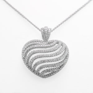 Love Heart Necklace in 18ct White Gold With Diamonds