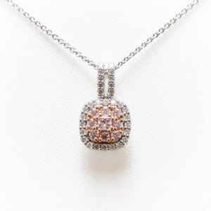 Pink & White Necklace in 18ct Rose & White Gold With Diamonds