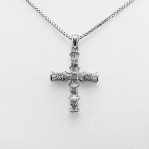 Cross Necklace in White Gold with Diamonds