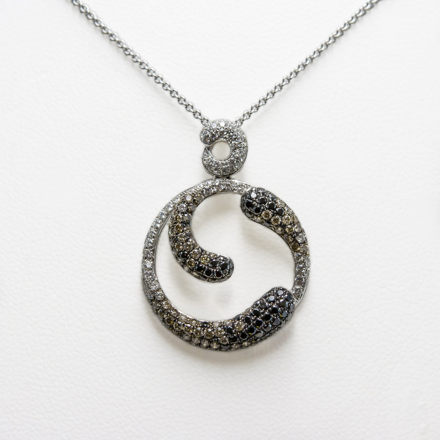 Fluid Necklace in 18ct White Gold with Diamonds