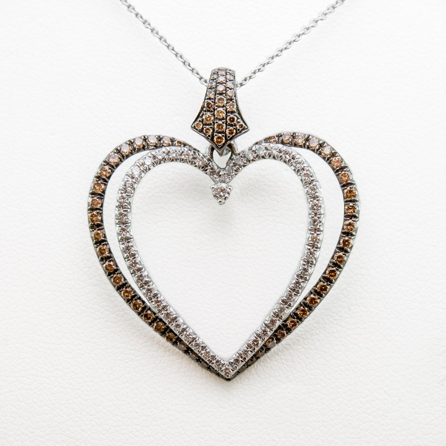 Champagne Love Heart Necklace in18ctWhite Gold with Diamonds