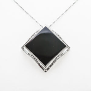 Square Onyx Necklace in 18ct White Gold with Diamonds