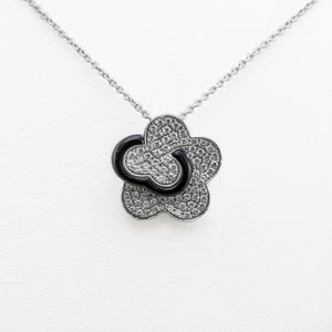 Flower Onyx Necklace in White Gold with Diamonds