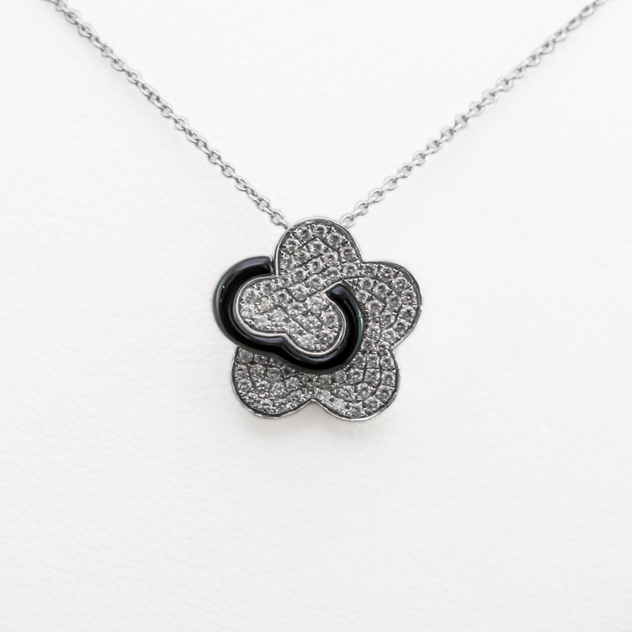 Flower Onyx Necklace in 18ct White Gold with Diamonds