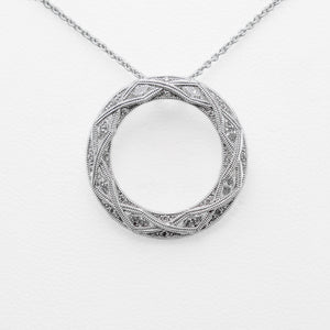 Circular Necklace in 18ct White Gold with Diamonds