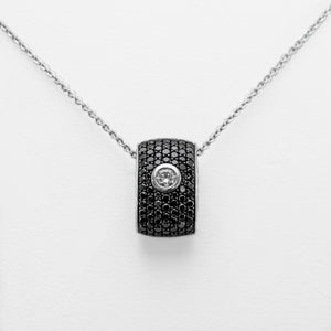 Black & White Necklace in 18ct White Gold with Diamonds