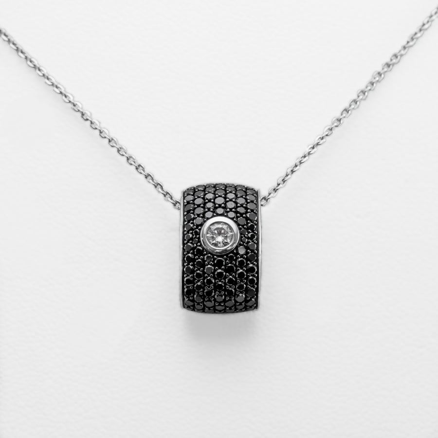 Black & White Diamond Necklace in 18ct White Gold