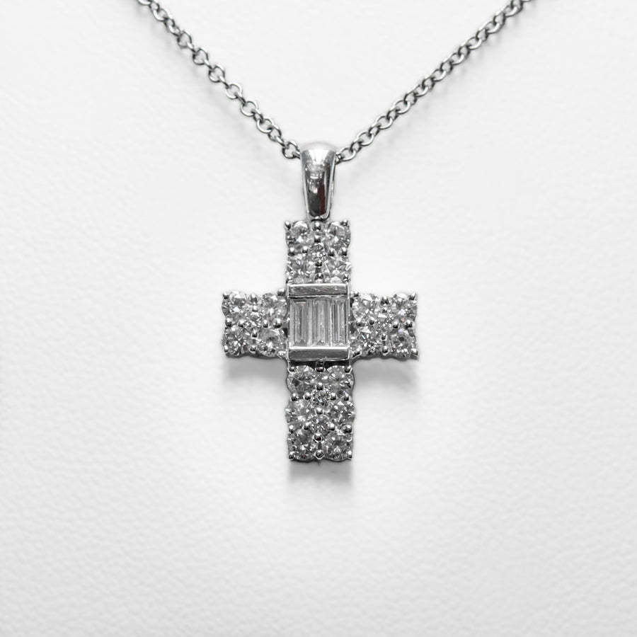 Cross Necklace in 18ct White Gold with Diamonds