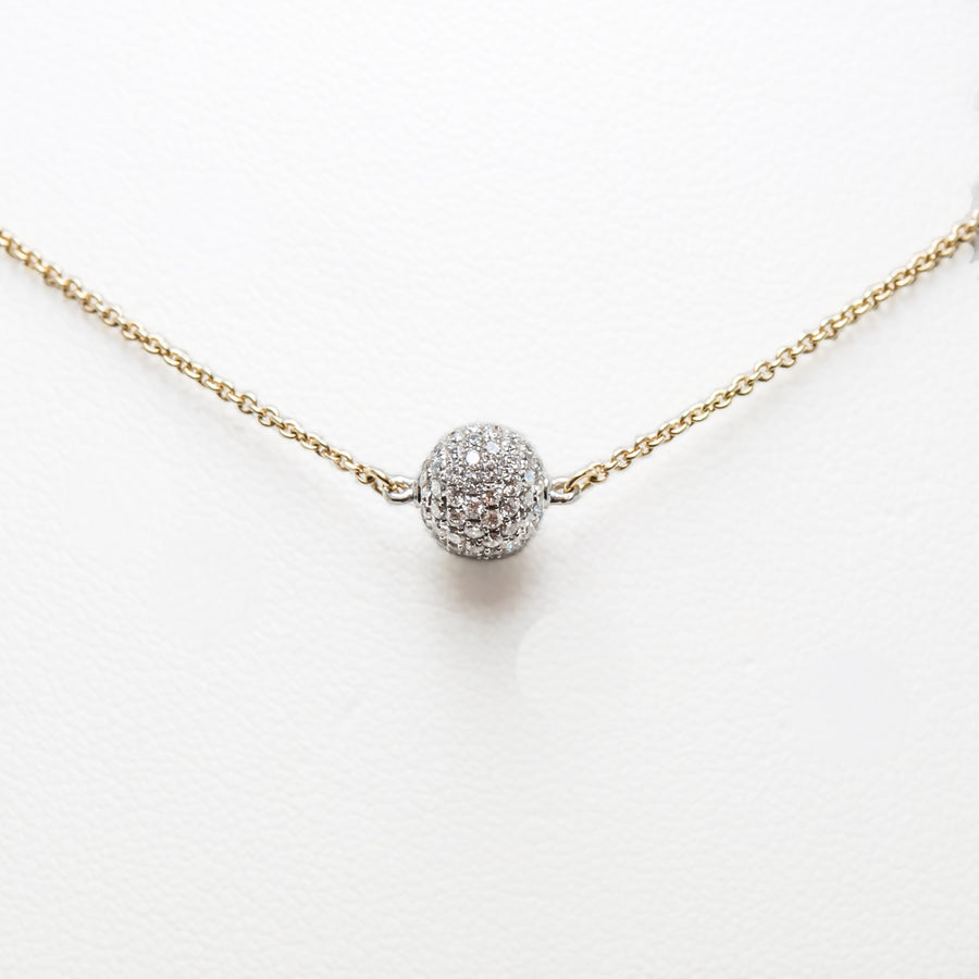 Diamond Ball Necklace in 18ct Yellow Gold with Diamonds