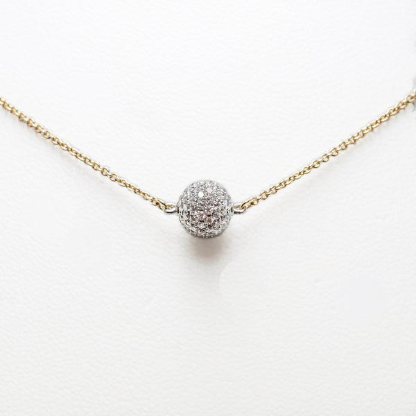 Ball Necklace in Yellow Gold with Diamonds