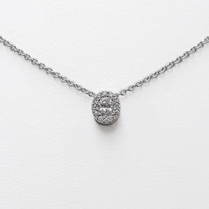 Oval Necklace in White Gold with Diamonds