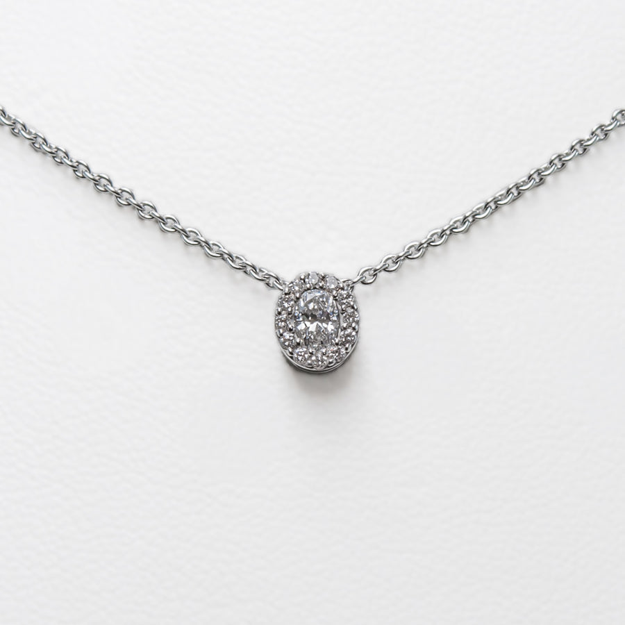 Oval Necklace in 18ct White Gold with Diamonds