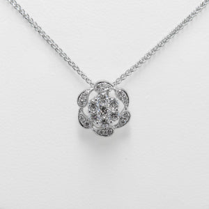 Flower Necklace in 18ct White Gold with Diamonds