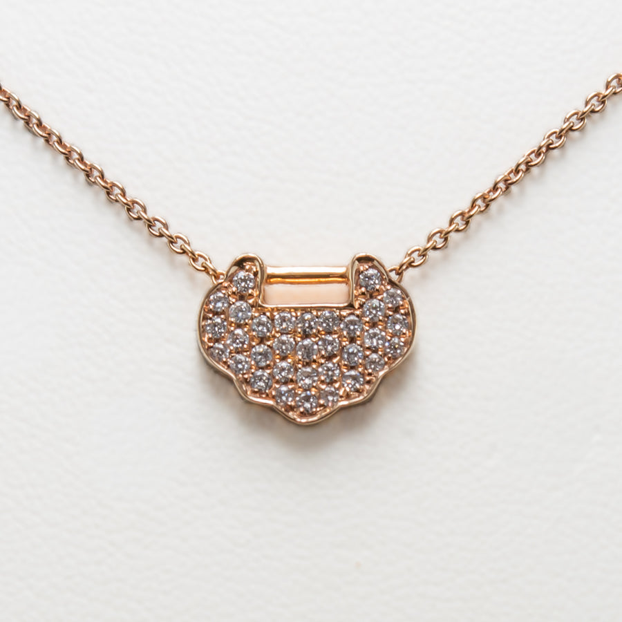 Pave Necklace in 18ct Rose Gold with Diamonds