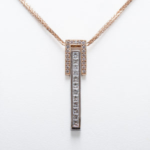 Drop Necklace in Rose & White Gold with Diamonds