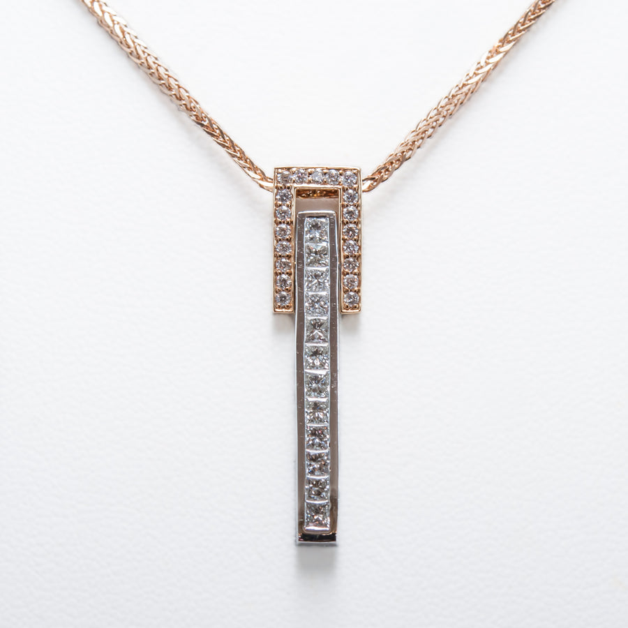 Diamond Drop Necklace in 18ct Rose & White Gold