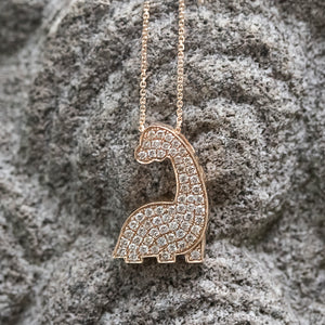 Diamond Dinosaur Necklace in Rose Gold