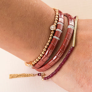 red ceramic bracelet stack