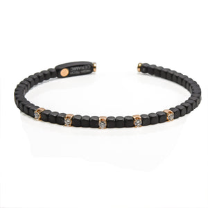 Black Ceramic Diamond Cuff in 18ct Rose Gold