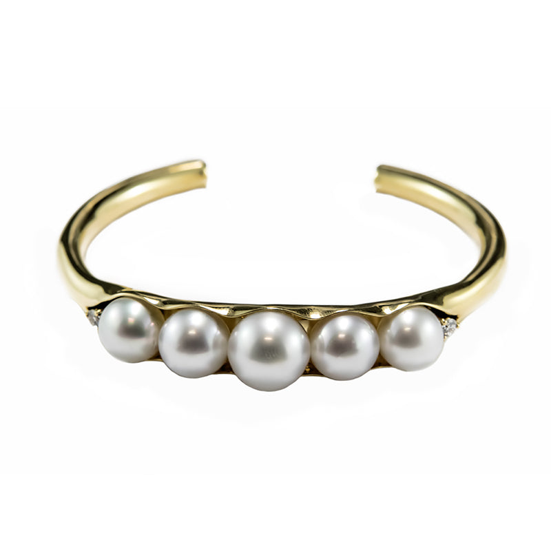 South Sea Pearl & Diamond Cuff in 18ct Yellow Gold
