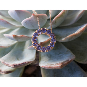 Circle of Life Tanzanite Necklace in 18ct Rose Gold