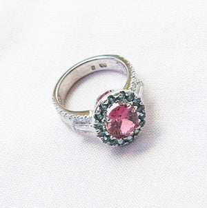 Pink & Paraiba Tourmaline Diamond Ring in 18ct White Gold