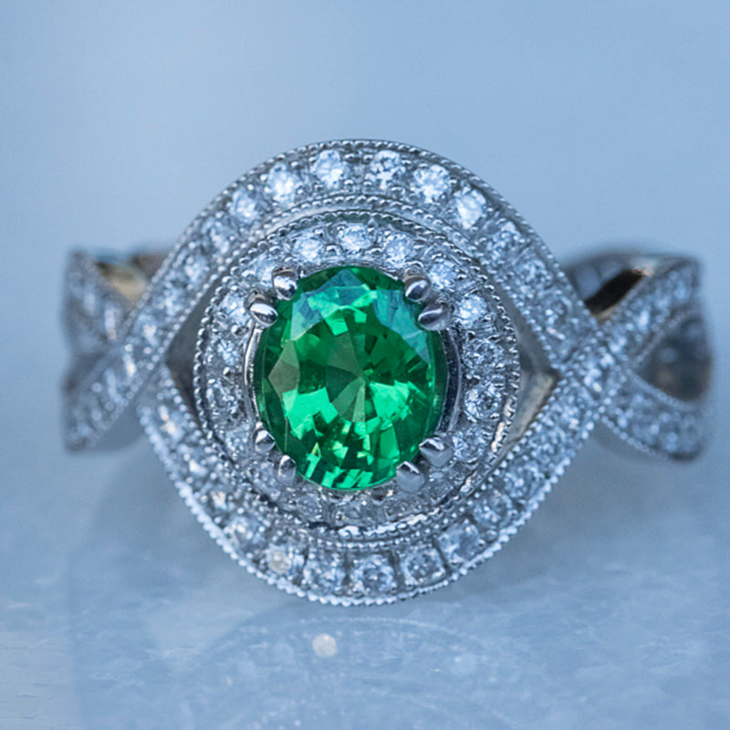Tsavorite Garnet Ring in 18ct White Gold
