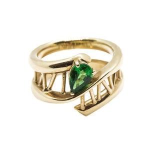 Pear Shaped Tsavorite Garnet Ring in 18ct Yellow Gold