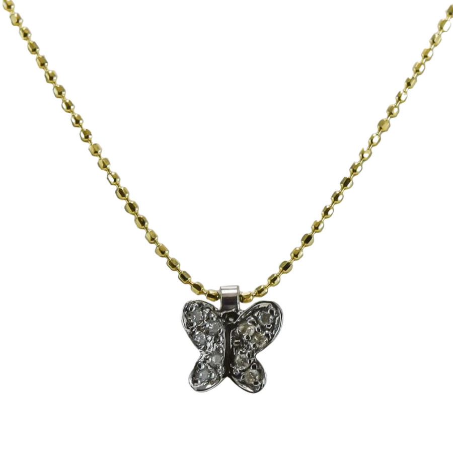 Diamond Butterfly Necklace in 18ct Yellow & White Gold
