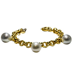 South Sea Pearl Link Bracelet in 18ct Yellow Gold