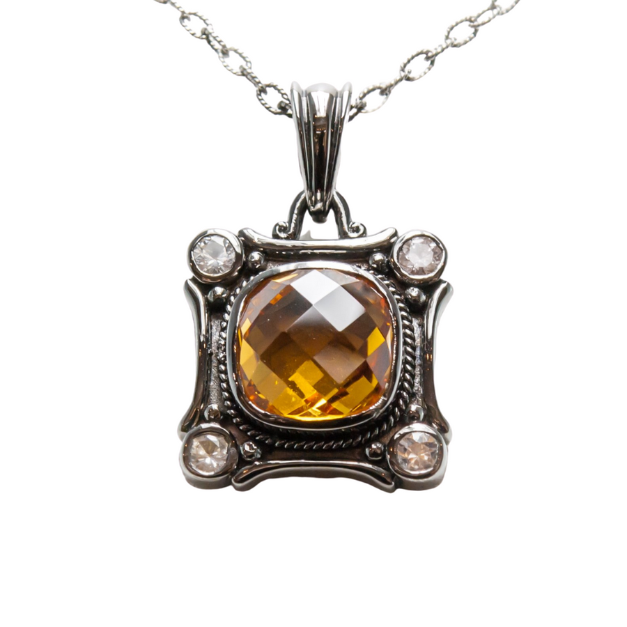 Citrine Necklace in Sterling Silver With Sapphires