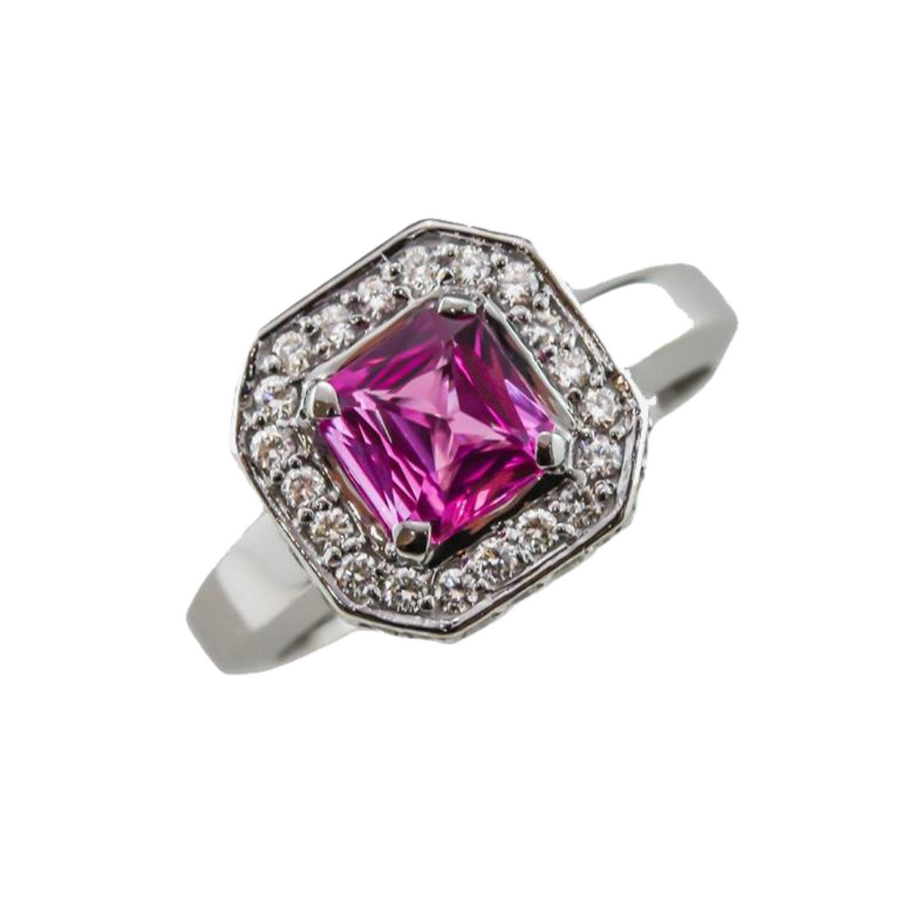 Square Emerald Cut Pink Sapphire Ring in 18ct White Gold