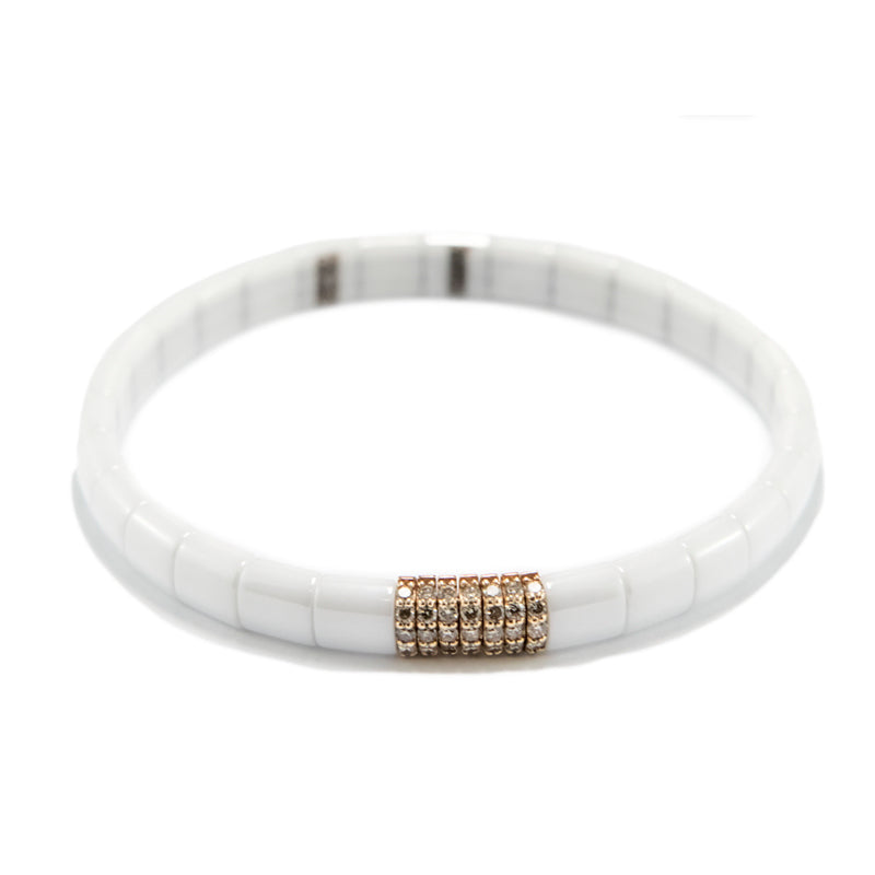 White Ceramic Diamond Bracelet in 18ct Rose Gold