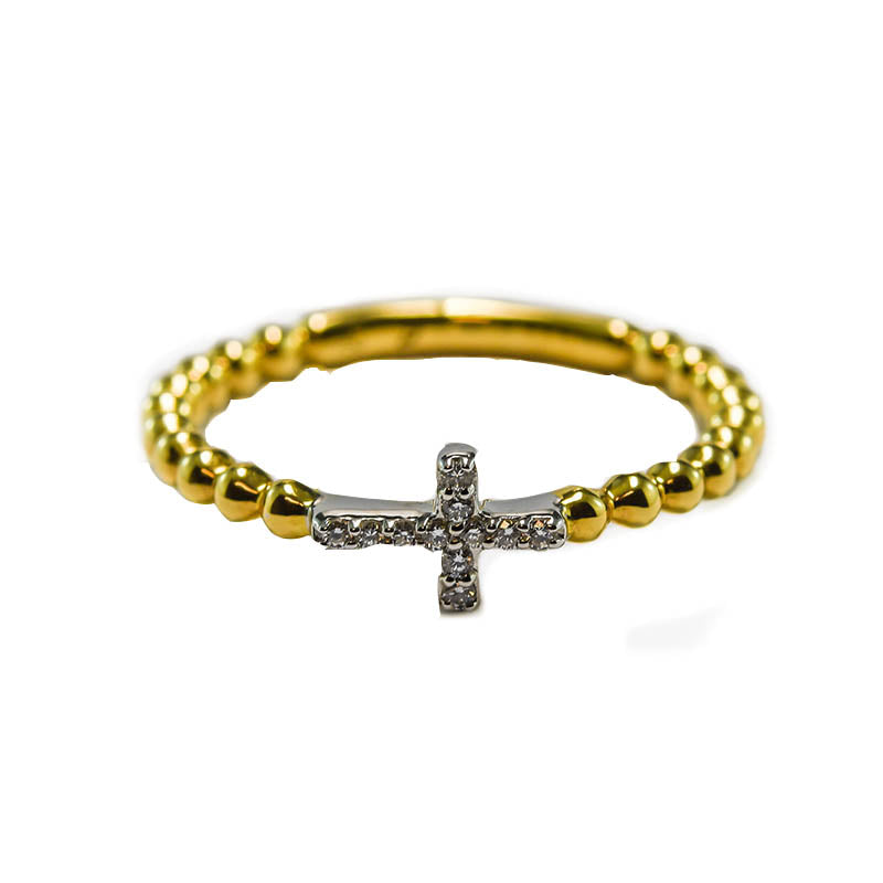 Fine Gold and Diamond Cross Ring Perth