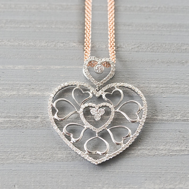 love heart diamond pendant