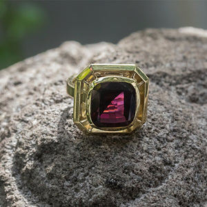 Rhodolite Garnet Ring in 18ct Yellow Gold