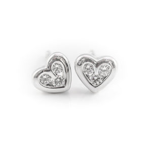 Heart Shaped Diamond Earrings in White Gold