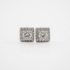 Round Brilliant Cut Earrings in White Gold