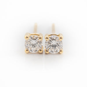 Round Brilliant Cut Diamond Studs in 18ct Yellow Gold
