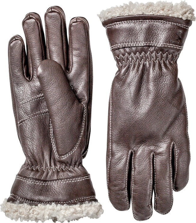 Hestra Ladies Dark Brown Leather Gloves