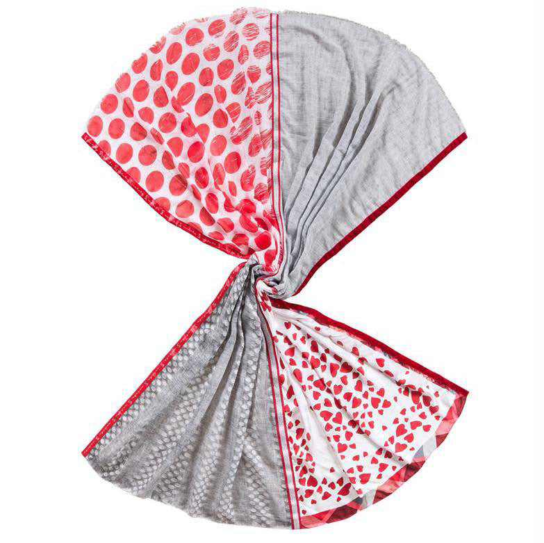 Solito Scarf - Love Hearts Grey