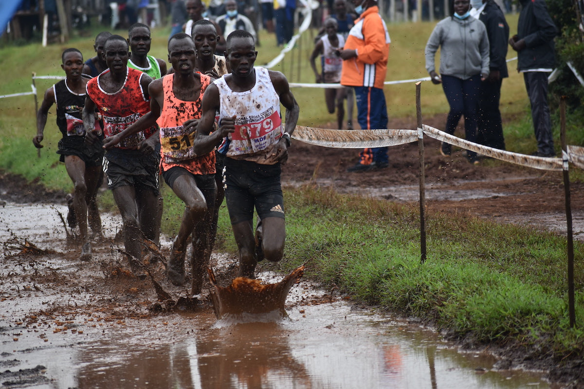 Kibiwot Kandie leading the men's cross country race. Photo Credit: Michelle Katami