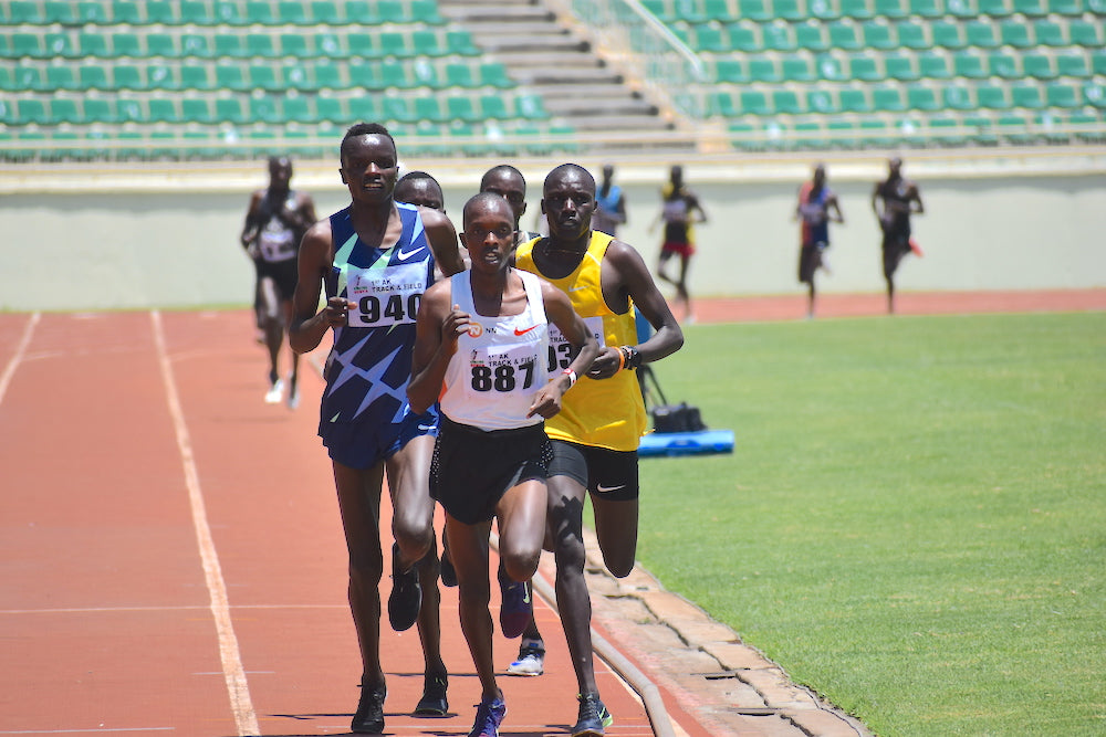 Kwemoi during 5000m at first Track and field meet at Nyayo