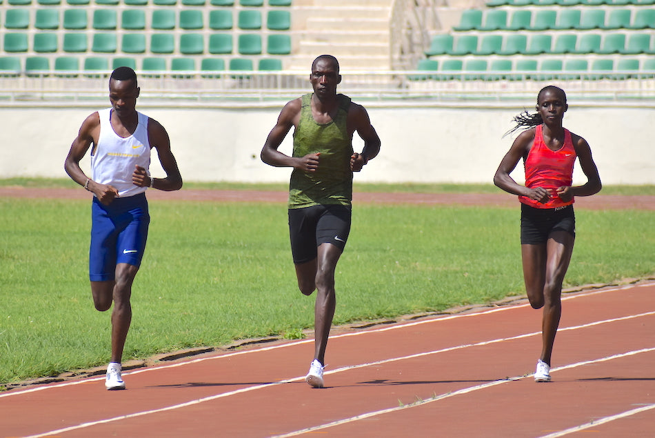 Winny Chebet training with Timothy and Vincent Keter at Nyayo stadium