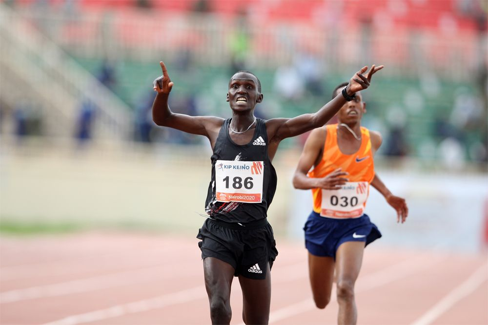 Kenya's Nicholas Kimeli wins the 5,000m race ahead of Ethiopia's Berihu Aregawi at the Kip Keino Classic at Nyayo National Stadium on 3 October 2020. Credit: Kip Keino Classic