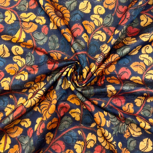 Kalamkari Printed Chanderi Silk Ink Blue