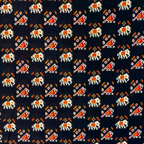 Chanderi Silk Black Ethnic Design