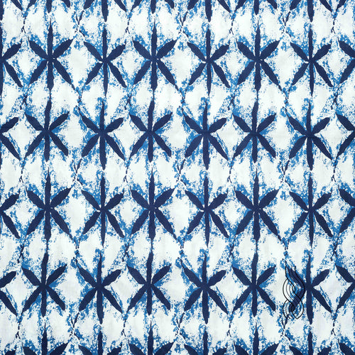Printed Cotton Star Indigo Blue