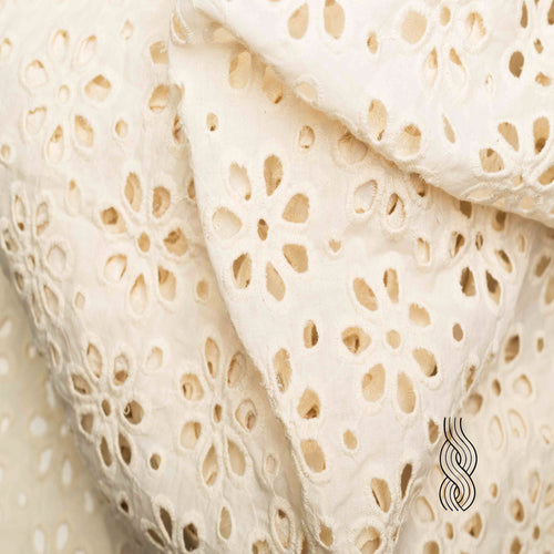Cut Work Kora Cotton Petals Off white