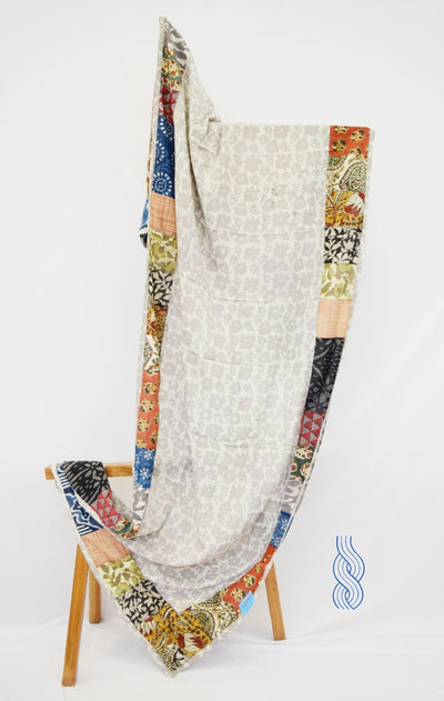 Patchwork Dupatta Block Printed With Multicolour Border